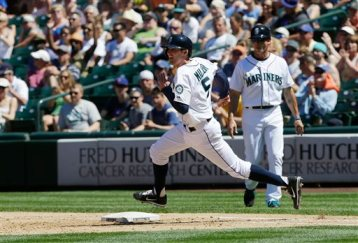 Brad's first big league hit - a double | Photo/Ted S. Warren, AP